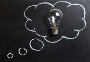 business idea - light bulb - chalk board